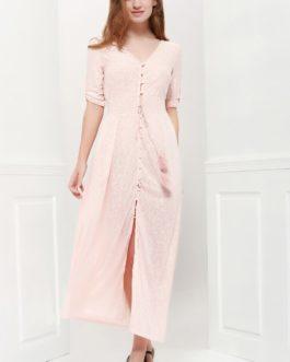 Bohemian 3/4 Sleeve V Neck Maxi Dress