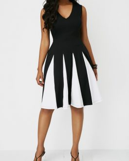 V Neck Sleeveless High Waist Dresses