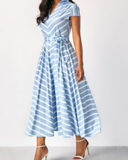 V Neck Striped Belted Cap Sleeve Dress