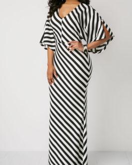 V Neck Striped Slit Sleeve Maxi Dresses