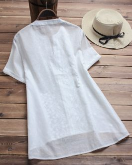 Vintage Embroidered Short Sleeve V-neck Shirts