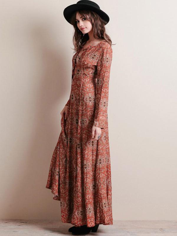 Floral Print Chiffon Maxi Dress Long Sleeve Plus Size Cross Front Casual  Long Dress