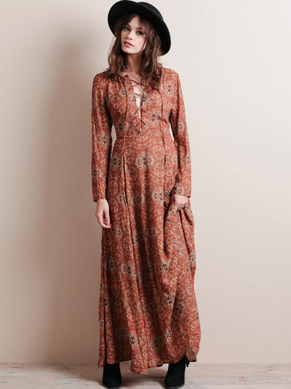 Floral Print Chiffon Maxi Dress Long Sleeve Plus Size Cross Front Casual  Long Dress