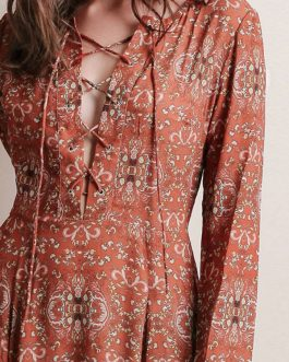 Vintage Floral Print Chiffon Maxi Dress Long Sleeve Plus Size Cross Front Casual Long Dress