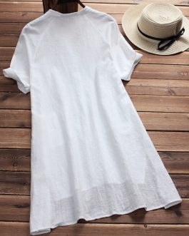 Vintage Irregular Hem Short Sleeve Blouses