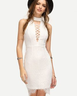 White Lace Dress High Collar Sleeveless Cut Out Slim Fit Bodycon Dress