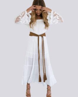 White Lace Dress Off Shoulder Women Sexy Summer Boho Beach Dress