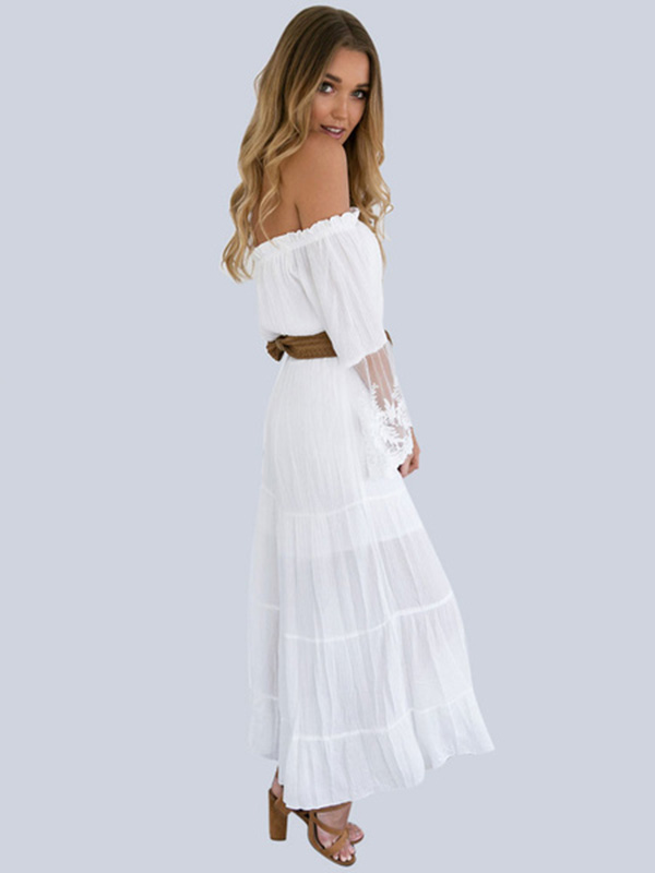 43b7cd3dd8c3c White Lace Dress Off Shoulder Women Sexy Summer Boho Beach Dress ...