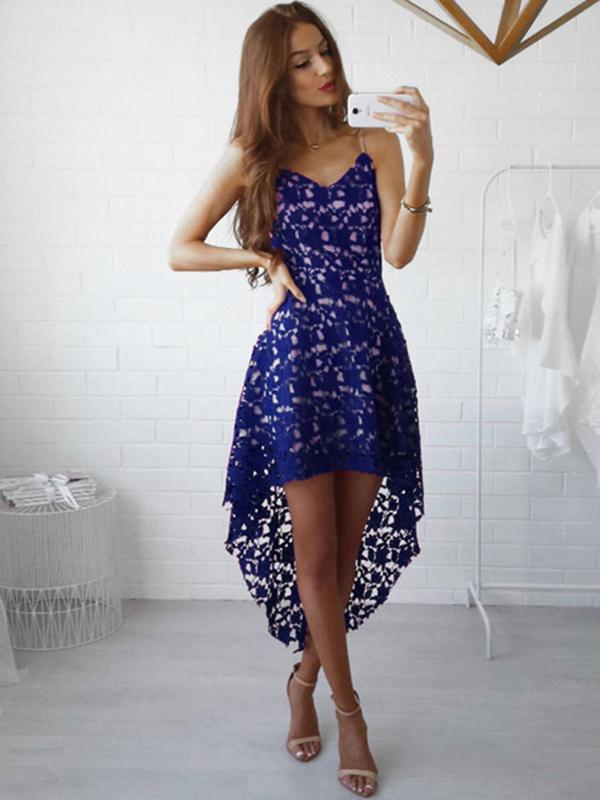 d05ce318bed1 White Lace Dress Spaghetti Straps High Low Semi Sheer Short Dress ...