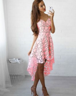White Lace Dress Spaghetti Straps High Low Semi Sheer Short Dress