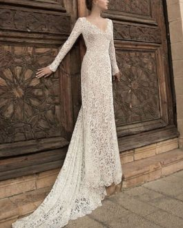 White Long Dress Lace Maxi Party Dress V Neck Backless Long Sleeve Women Formal Dress