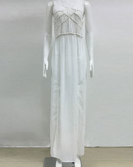 White Maxi Dress V-neck Sleeveless Slits Semi-Sheer Long Chiffon Dress For Women