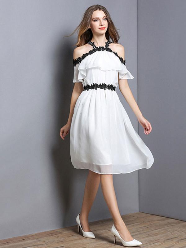 White Skater Dress Chiffon Short Sleeve Lace Summer Dress For Women