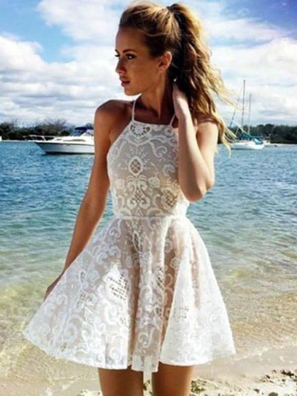 e1aeba874bd0 White Skater Dress Cut Out Spaghetti Straps Solid Color Summer