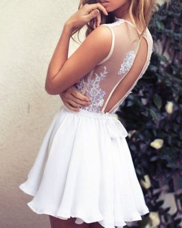 White Skater Dress Plunging Neck Lace Backless Summer Mini Dress
