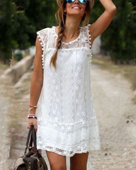White Summer Dress Lace Sheer Sleeveless Mini Dress For Women