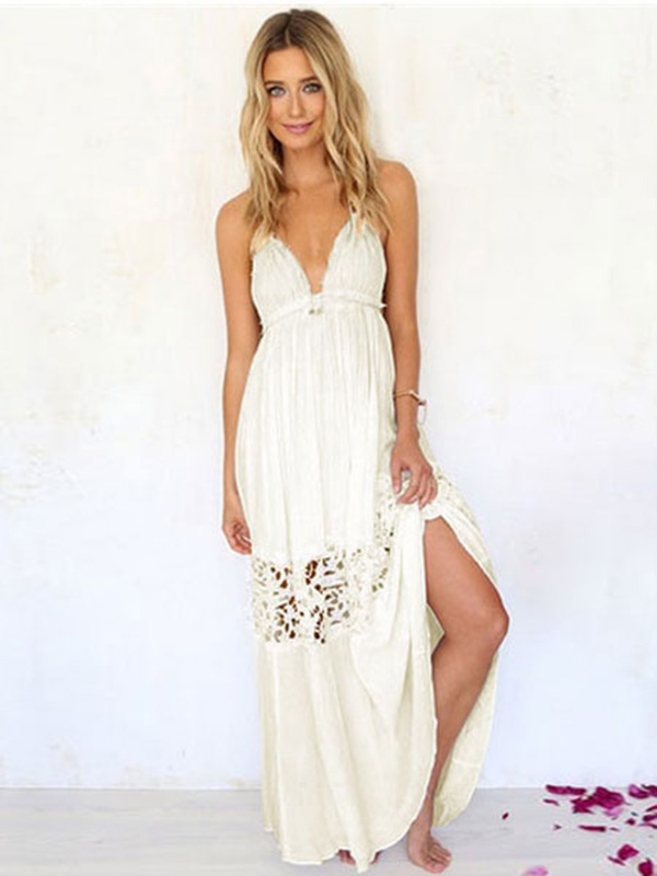 ccd7ee734856 White Summer Dress Split Women s Backless Maxi Dress - Power Day Sale