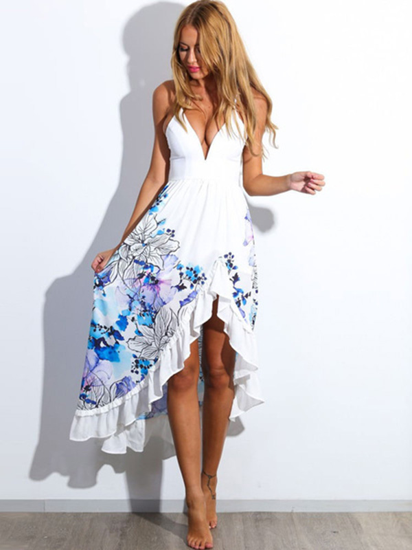 7cdf150d7164 Floral Print High-Low Mullet Dress With Straps for Women - Power Day ...