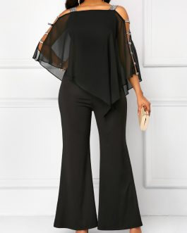 Wide Strap Ladder Cutout Overlay Jumpsuit