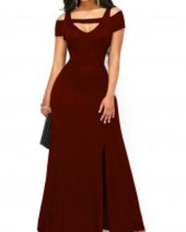 Short Sleeve Side Slit Maxi Dress