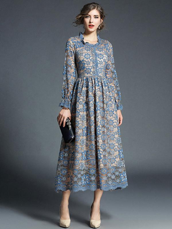 Women Lace Dress Frill Pleated Long Sleeve Light Blue Women Spring Dress