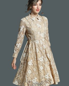 Women Lace Dress Turndown Collar Pleated Long Sleeve Yellow Women Dress