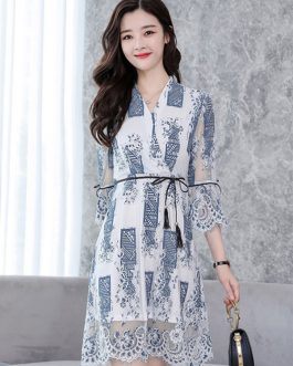 Women Lace Dress White Bell Sleeve V Neck Three Quarter Sleeve Sash Spring Dress