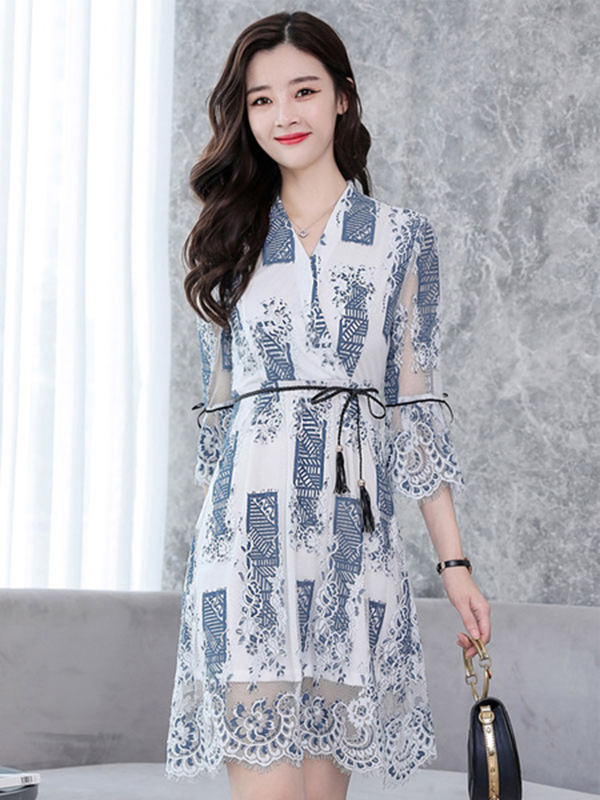 b2c5b639e26e Women Lace Dress White Bell Sleeve V Neck Three Quarter Sleeve Sash Spring  Dress