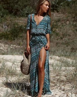 Women Maxi Dress Boho V Neck Half Sleeve Printed Split Green Summer Long Dresses