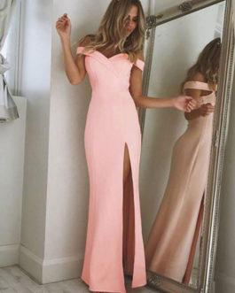 Women Maxi Dress Off Shoulder Split Pink Women Long Prom Dress