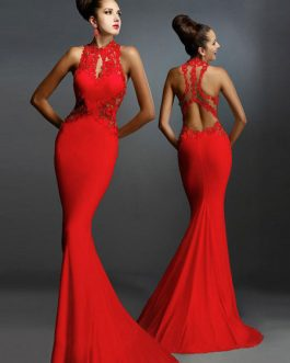 Women Red Dress Lace Sleeveless Backless Mermaid Maxi Dress