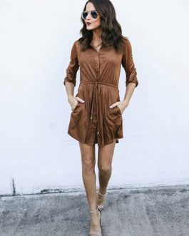 Women Shirt Dress Long Sleeve Drawstring Spread Collar Light Brown Mini Dress