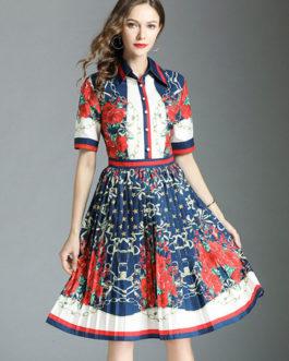 16321a8acce8 Women Shirt Dress Short Sleeve Front Button Printed Pleated Dark Navy Summer  Dress ...