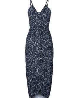 Women's Boho Dress Floral Print V Neck Spaghetti Strap Backless High Low Dark Navy Long Dress