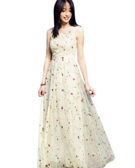 Women's Lace Dress Ecru White Round Neck Sleeveless Rose Embroidered Semi Sheer Maxi Dress