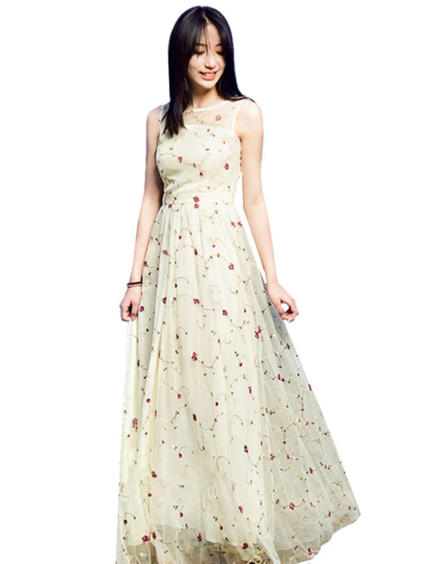 Womens Lace Dress Ecru White Round Neck Sleeveless Rose Embroidered Semi Sheer Maxi Dress
