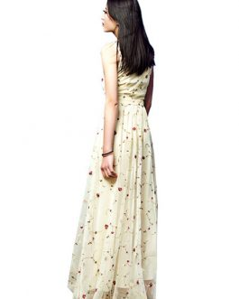 Women's Lace Dress Ecru White Round Neck Sleeveless Rose Embroidered Semi Sheer Maxi Dress