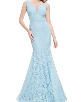 Women's Lace Dress V Neck Sleeveless Long Mermaid Dresses