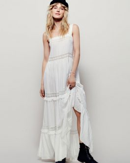 Women's Maxi Dress Light Blue Strappy Sleeveless Backless Crochet Ruffle Long Dress