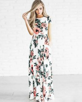 Women's Maxi Dresses Floral Print Short Sleeve Summer Long Dress