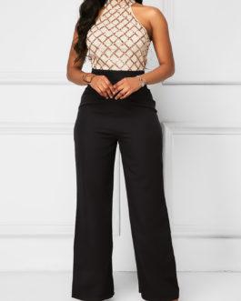 Grid Zipper Back Patchwork Jumpsuit