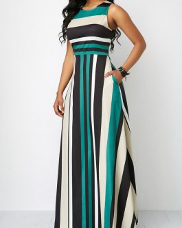 Zipper Back Pocket Stripe Sleeveless Maxi Dresses