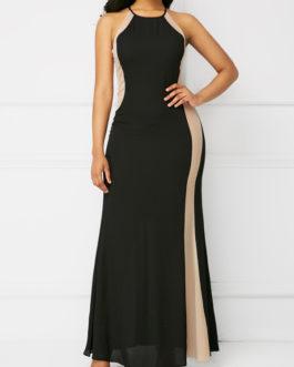 Zipper Back Round Neck Sleeveless Maxi Dresses