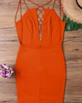 Backless Low Cut Strappy Dress – Dark Orange S
