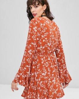 Bell Sleeve Floral Mini Dress