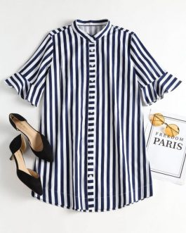 Bell Sleeve Striped Mini Shirt Dresses