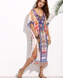 Boho Chiffon Short Sleeve Slit Long Dresses
