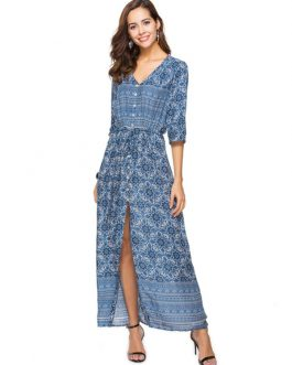 Boho Ethnic V Neck Half Sleeve High Slit Maxi Dresses