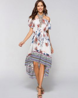 Boho Floral Off Shoulder High Low Dresses