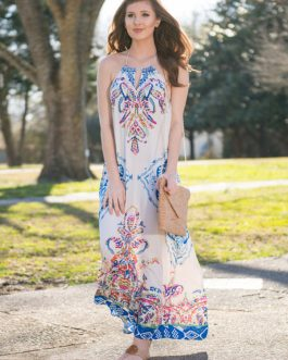 Boho Halter Backless Tassels Maxi Dresses